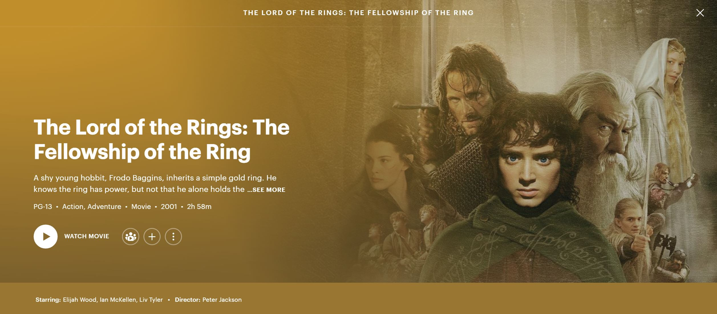 The Lord of the Rings streaming on hulu banner
