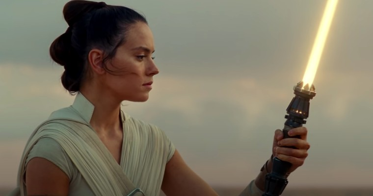 Rey Skywalker with her new Lightsaber.