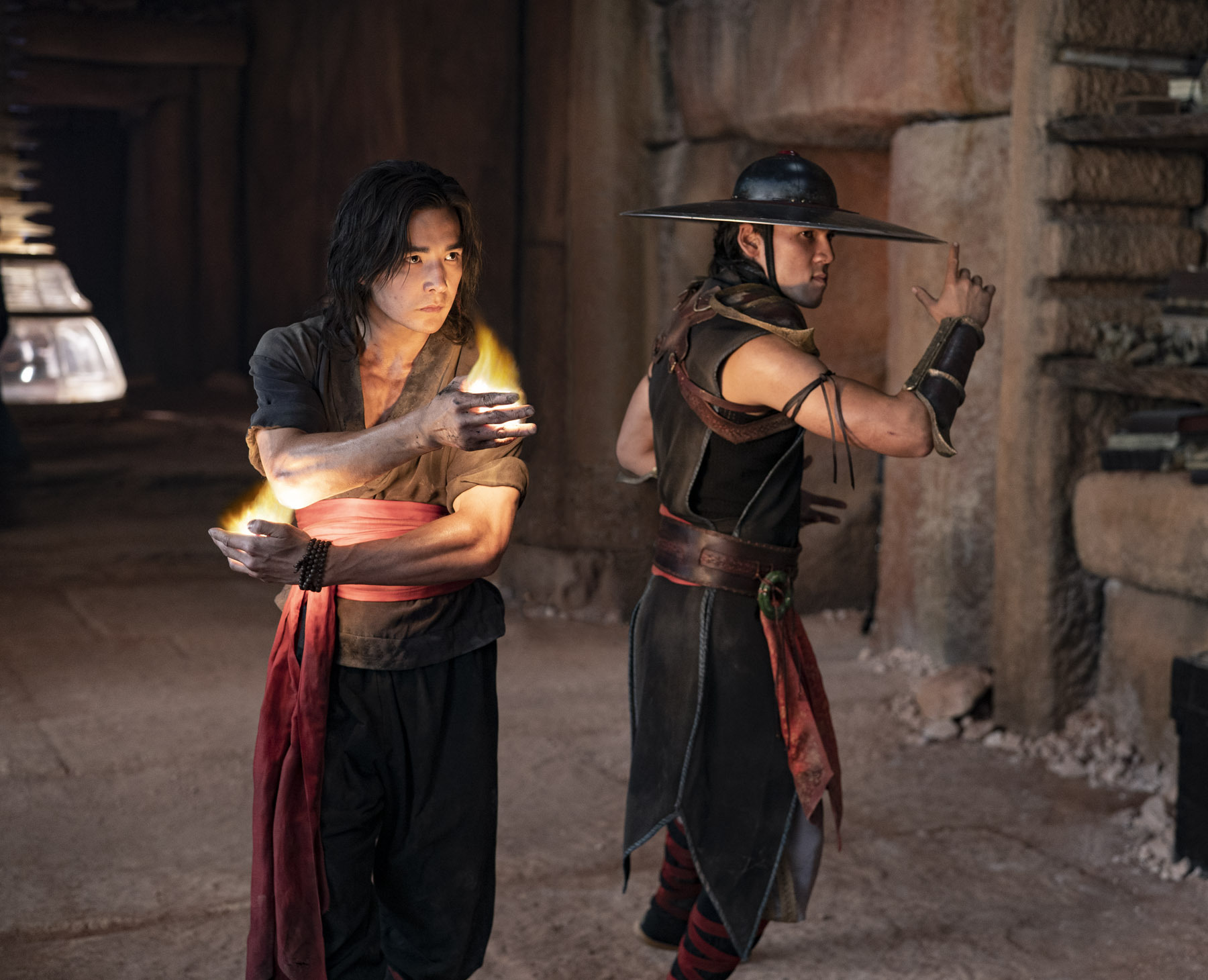"LUDI LIN as Liu Kang and MAX HUANG as Kung Lao in New Line Cinema's action adventure ""Mortal Kombat,"" a Warner Bros. Pictures release."