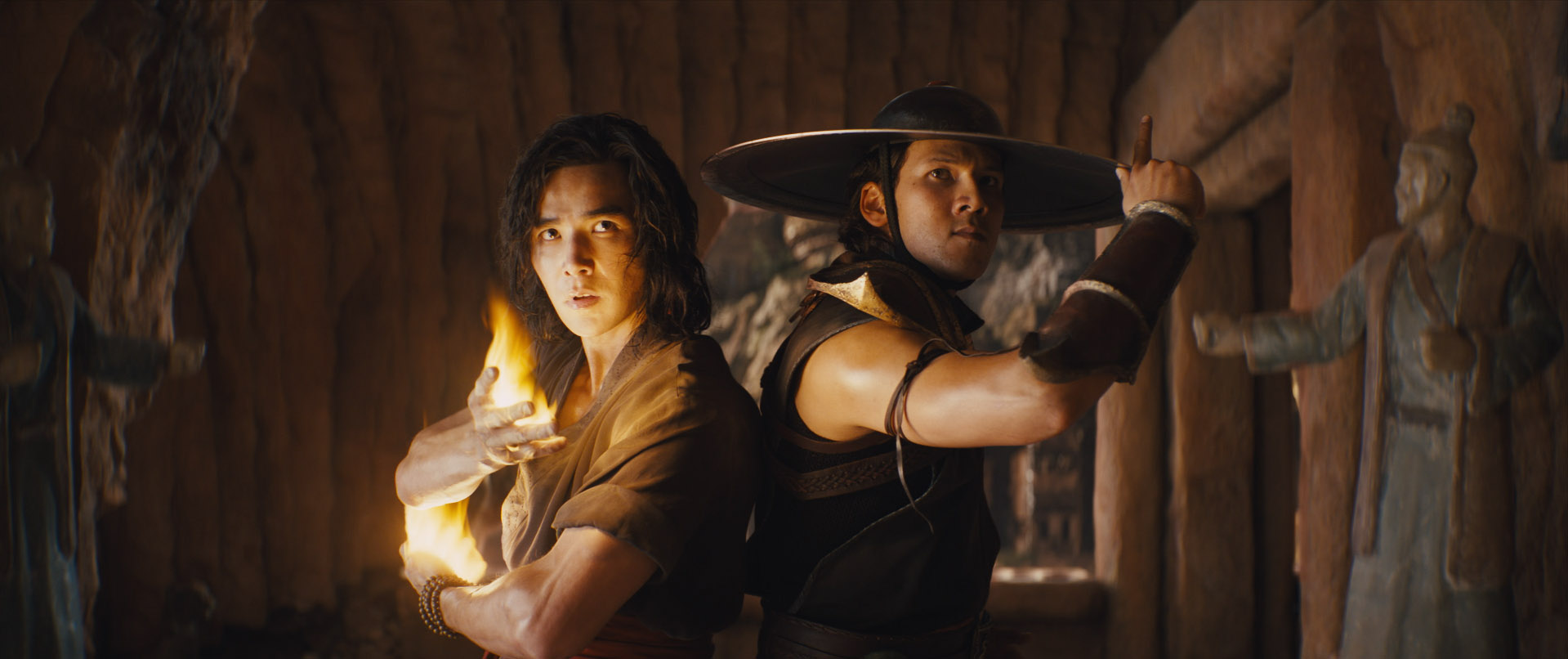 "(L-r) LUDI LIN as Liu Kang and MAX HUANG as Kung Lao in New Line Cinema's action adventure ""Mortal Kombat,"" a Warner Bros. Pictures release."