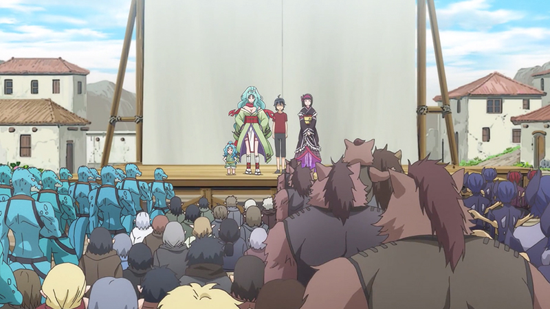Makoto meeting his new villagers in Episode 3 of Tsukimichi: Moonlit Fantasy. Photo from C2C.